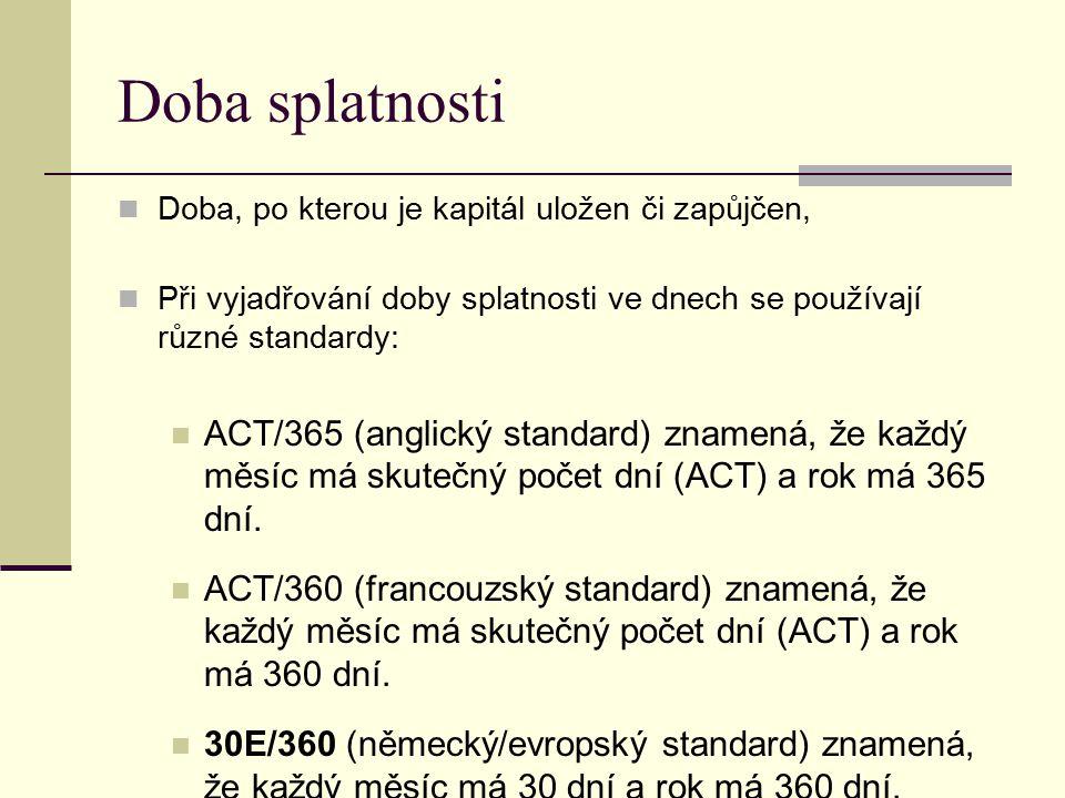 Doba splatnosti Doba, po kterou je kapitál uložen či zapůjčen, Při vyjadřování doby splatnosti ve dnech se používají různé standardy: ACT/365 (anglick