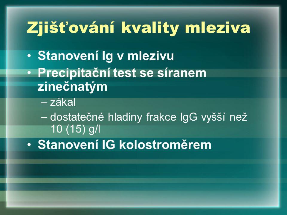 Zjišťování kvality mleziva Stanovení Ig v mlezivu Precipitační test se síranem zinečnatým –zákal –dostatečné hladiny frakce IgG vyšší než 10 (15) g/l