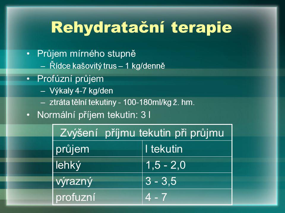 Rehydratační terapie Průjem mírného stupně –Řídce kašovitý trus – 1 kg/denně Profúzní průjem –Výkaly 4-7 kg/den –ztráta tělní tekutiny - 100-180ml/kg