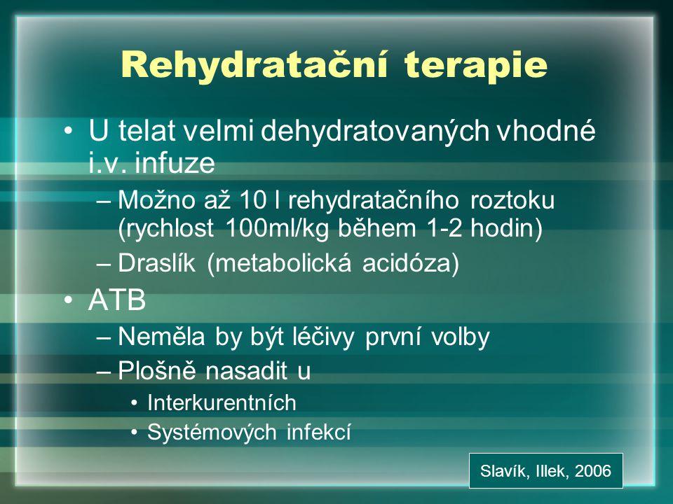 Rehydratační terapie U telat velmi dehydratovaných vhodné i.v. infuze –Možno až 10 l rehydratačního roztoku (rychlost 100ml/kg během 1-2 hodin) –Drasl
