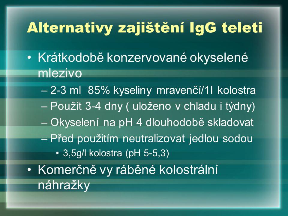 Alternativy zajištění IgG teleti Krátkodobě konzervované okyselené mlezivo –2-3 ml 85% kyseliny mravenčí/1l kolostra –Použít 3-4 dny ( uloženo v chlad
