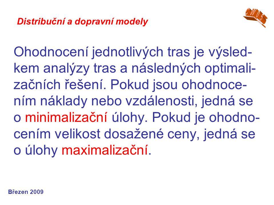 Ohodnocení jednotlivých tras je výsled- kem analýzy tras a následných optimali- začních řešení. Pokud jsou ohodnoce- ním náklady nebo vzdálenosti, jed