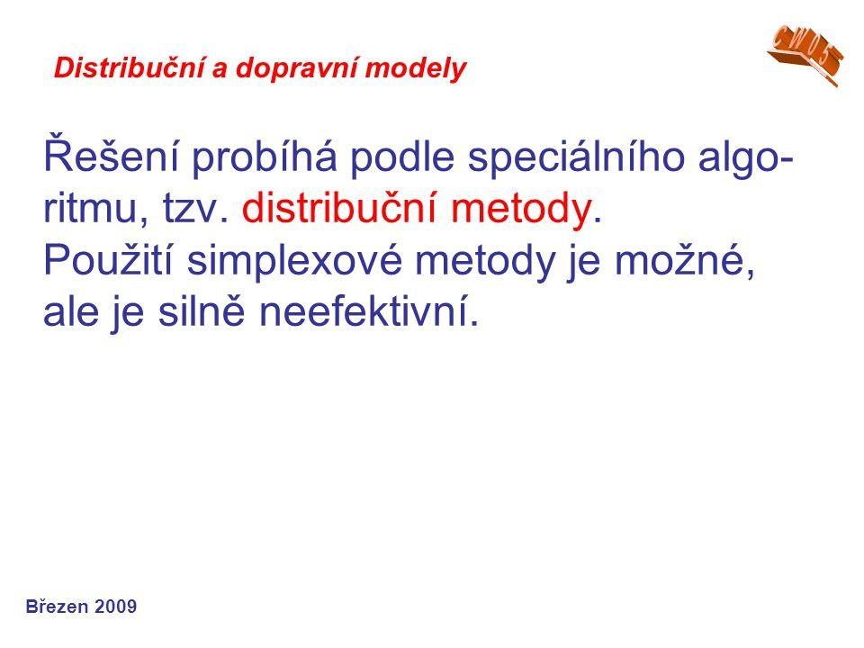 Řešení probíhá podle speciálního algo- ritmu, tzv. distribuční metody. Použití simplexové metody je možné, ale je silně neefektivní. Březen 2009 Distr