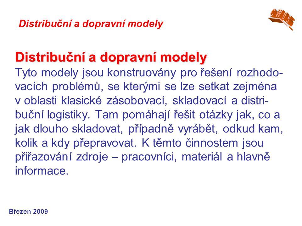 Distribuční modely Distribuční modely Speciálním případem lineárních optimalizač- ních modelů jsou distribuční modely, které zachycují a řeší pohyb.