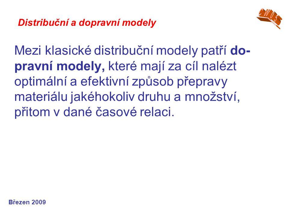 Mezi klasické distribuční modely patří do- pravní modely, které mají za cíl nalézt optimální a efektivní způsob přepravy materiálu jakéhokoliv druhu a množství, přitom v dané časové relaci.