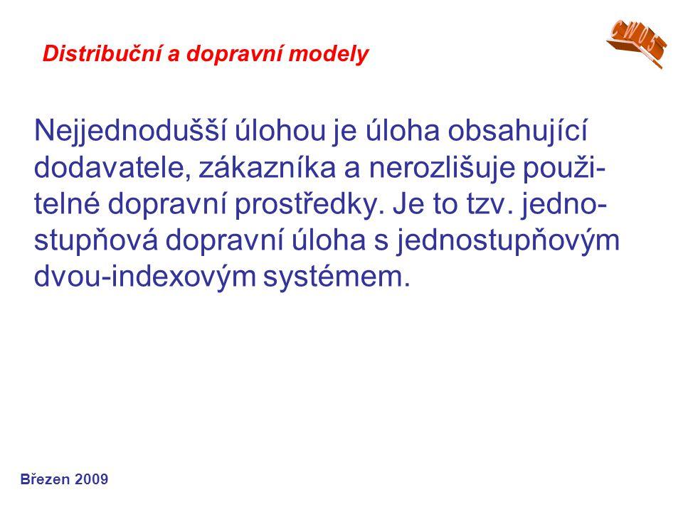 Březen 2010 M1M1 M2M2 M3M3 S1S1 S2S2 D1D1 D2D2 Grafické znázornění distribuční tří-indexové úlohy Distribuční a dopravní modely