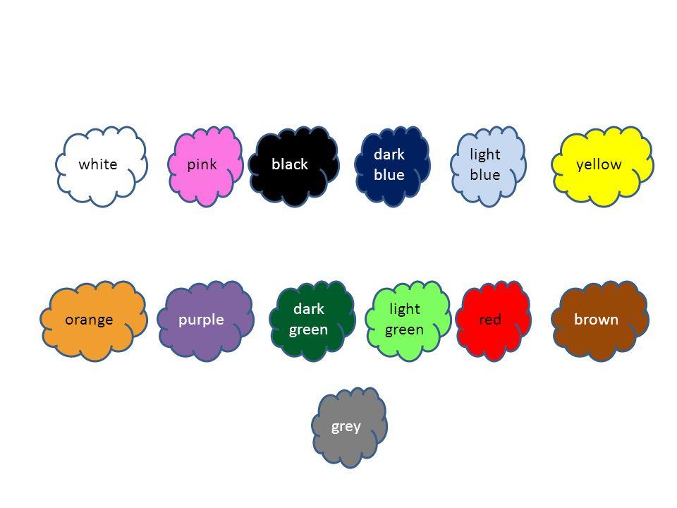 purple whitepinkblack dark blue light blue yellow dark green light green redbrown grey