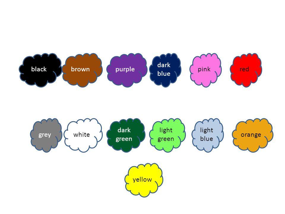 orangewhite purple dark green redgreypink dark blue blackyellow light blue brown light green