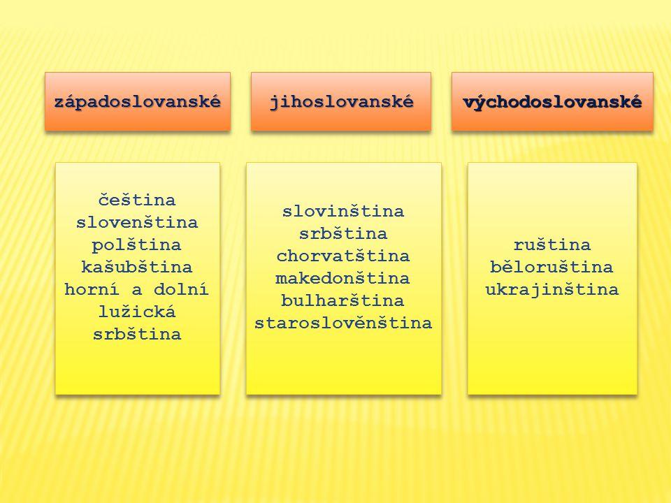 západoslovanskézápadoslovanskéjihoslovanskéjihoslovanskévýchodoslovanskévýchodoslovanské čeština slovenština polština kašubština horní a dolní lužická srbština čeština slovenština polština kašubština horní a dolní lužická srbština ruština běloruština ukrajinština ruština běloruština ukrajinština slovinština srbština chorvatština makedonština bulharština staroslověnština slovinština srbština chorvatština makedonština bulharština staroslověnština