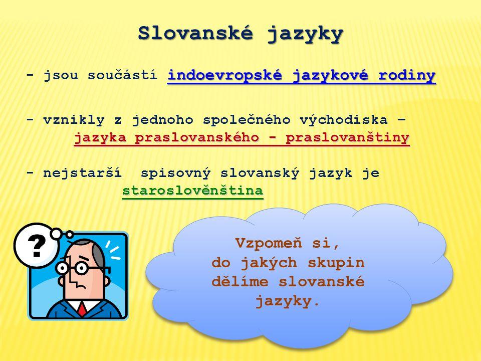 Slovanské jazyky indoevropské jazykové rodiny - jsou součástí indoevropské jazykové rodiny staroslověnština - nejstarší spisovný slovanský jazyk je staroslověnština jazyka praslovanského - praslovanštiny - vznikly z jednoho společného východiska – jazyka praslovanského - praslovanštiny Vzpomeň si, do jakých skupin dělíme slovanské jazyky.