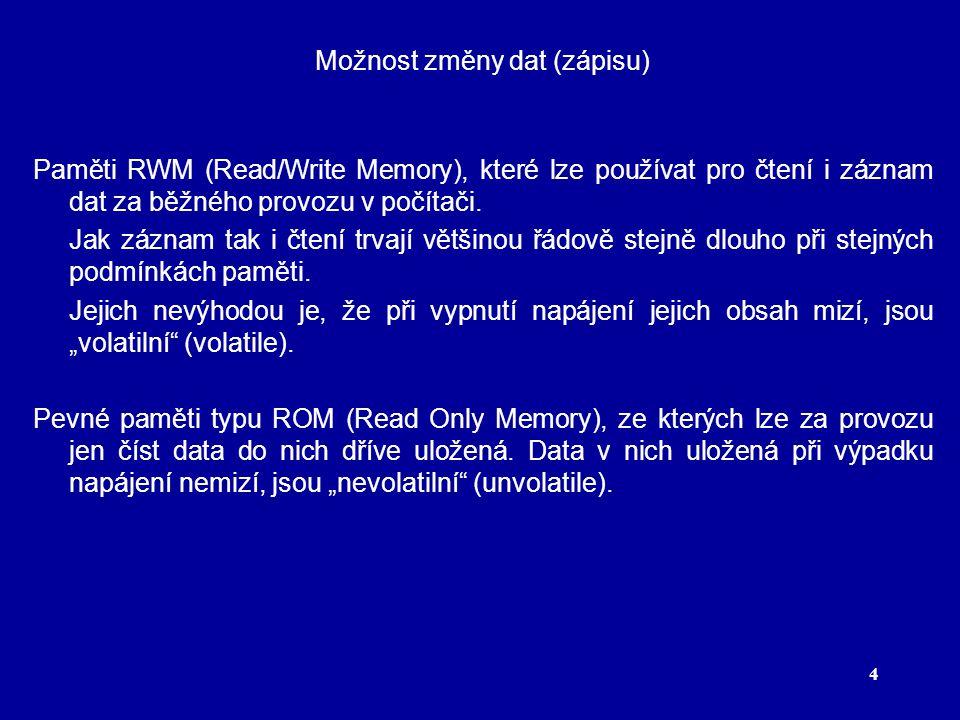 4 Možnost změny dat (zápisu) Paměti RWM (Read/Write Memory), které lze používat pro čtení i záznam dat za běžného provozu v počítači.