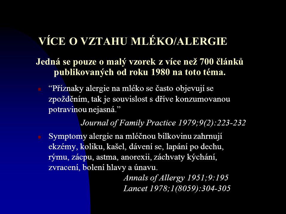 VÍCE O VZTAHU MLÉKO/ALERGIE n Příznaky alergie na mléko se často objevují se zpožděním, tak je souvislost s dříve konzumovanou potravinou nejasná. Journal of Family Practice 1979;9(2):223-232 n Symptomy alergie na mléčnou bílkovinu zahrnují ekzémy, koliku, kašel, dávení se, lapání po dechu, rýmu, zácpu, astma, anorexii, záchvaty kýchání, zvracení, bolení hlavy a únavu.