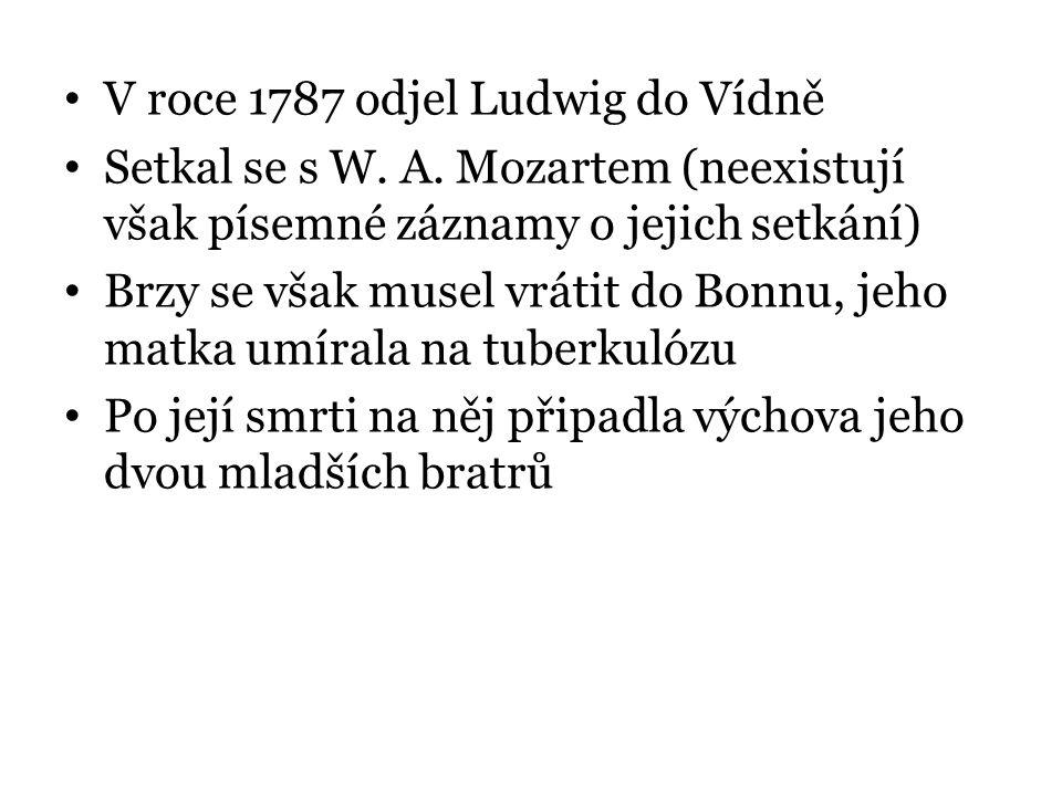 V roce 1787 odjel Ludwig do Vídně Setkal se s W. A. Mozartem (neexistují však písemné záznamy o jejich setkání) Brzy se však musel vrátit do Bonnu, je
