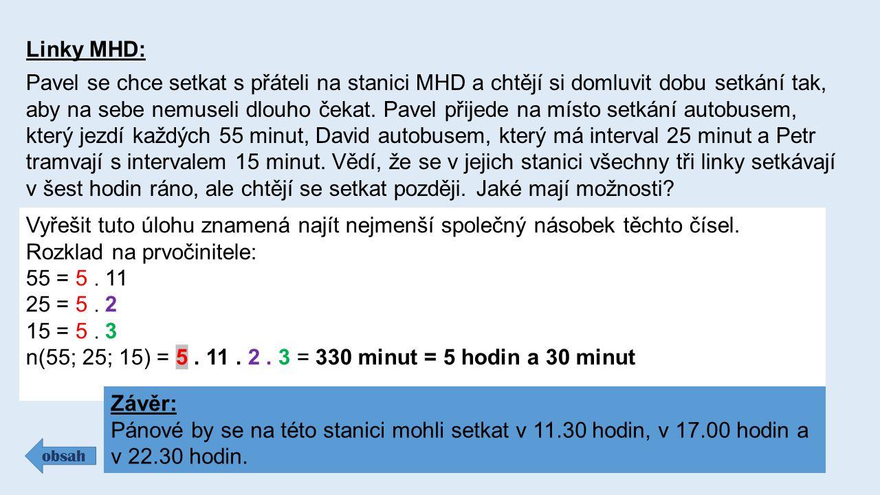 Linky MHD: Pavel se chce setkat s přáteli na stanici MHD a chtějí si domluvit dobu setkání tak, aby na sebe nemuseli dlouho čekat.
