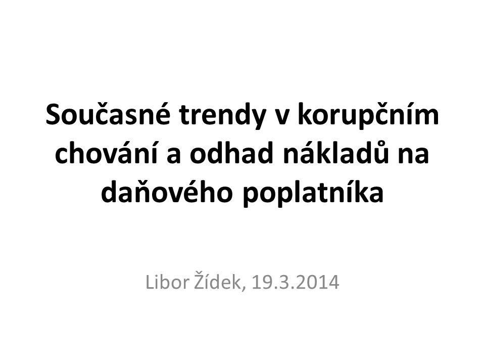 Současné trendy v korupčním chování a odhad nákladů na daňového poplatníka Libor Žídek, 19.3.2014