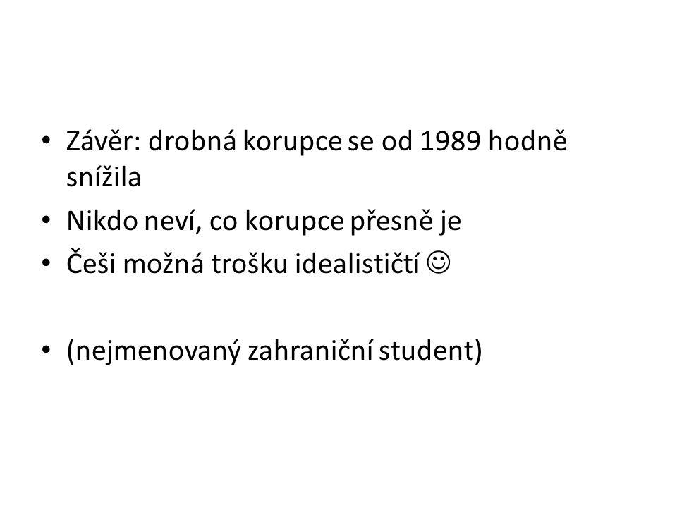 Závěr: drobná korupce se od 1989 hodně snížila Nikdo neví, co korupce přesně je Češi možná trošku idealističtí (nejmenovaný zahraniční student)