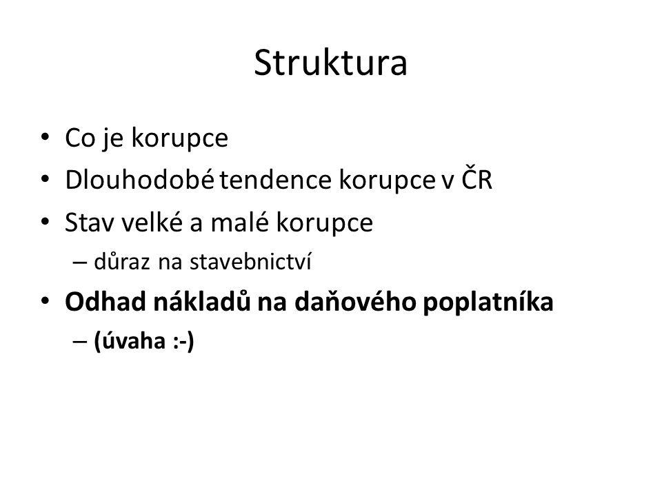 Struktura Co je korupce Dlouhodobé tendence korupce v ČR Stav velké a malé korupce – důraz na stavebnictví Odhad nákladů na daňového poplatníka – (úvaha :-)