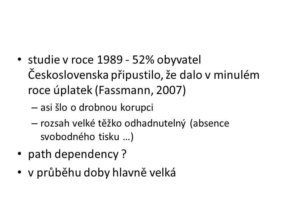 studie v roce 1989 - 52% obyvatel Československa připustilo, že dalo v minulém roce úplatek (Fassmann, 2007) – asi šlo o drobnou korupci – rozsah velké těžko odhadnutelný (absence svobodného tisku …) path dependency .