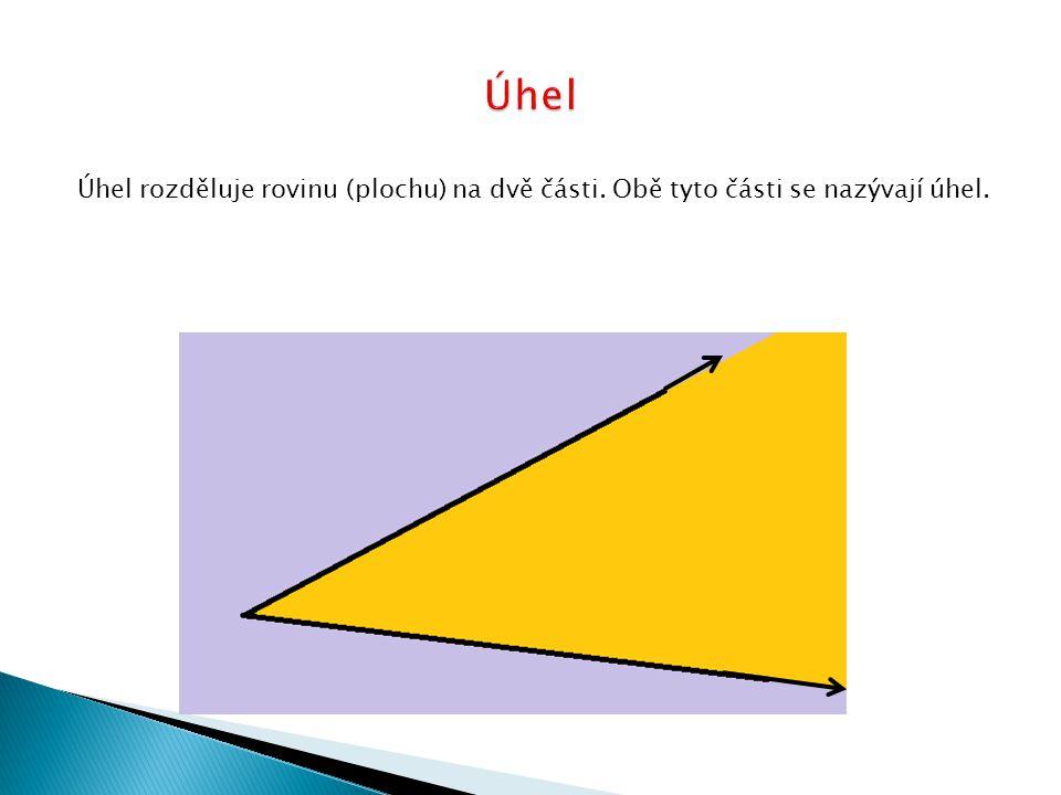Úhel rozděluje rovinu (plochu) na dvě části. Obě tyto části se nazývají úhel.