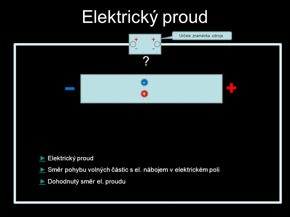 - +-+- +-+- Elektrický proud ►► Elektrický proud ►► Směr pohybu volných částic s el.