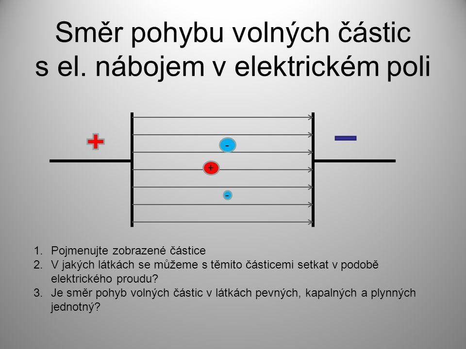 Směr pohybu volných částic s el.