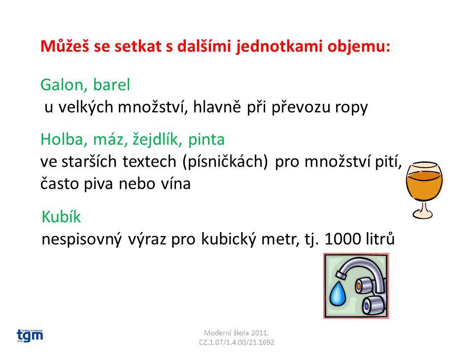 Moderní škola 2011, CZ.1.07/1.4.00/21.1692 Můžeš se setkat s dalšími jednotkami objemu: Galon, barel u velkých množství, hlavně při převozu ropy Holba