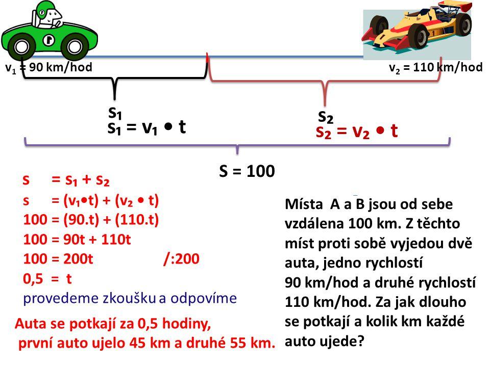 s₁ s₂ S = 100 s = s₁ + s₂ s₁ = v₁ t s₂ = v₂ t s = (v₁t) + (v₂ t) 100 = (90.t) + (110.t) 100 = 90t + 110t 100 = 200t /:200 0,5 = t provedeme zkoušku a odpovíme Místa A a B jsou od sebe vzdálena 100 km.