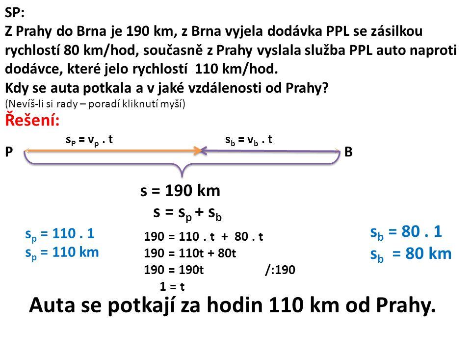 SP: Z Prahy do Brna je 190 km, z Brna vyjela dodávka PPL se zásilkou rychlostí 80 km/hod, současně z Prahy vyslala služba PPL auto naproti dodávce, které jelo rychlostí 110 km/hod.