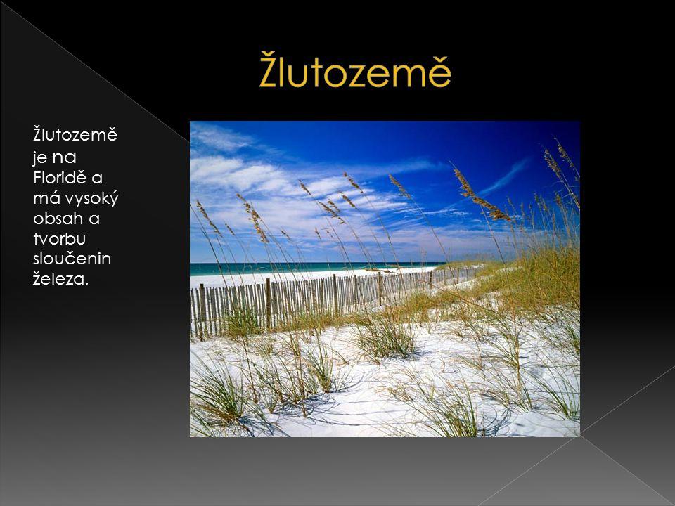 Žlutozemě je na Floridě a má vysoký obsah a tvorbu sloučenin železa.