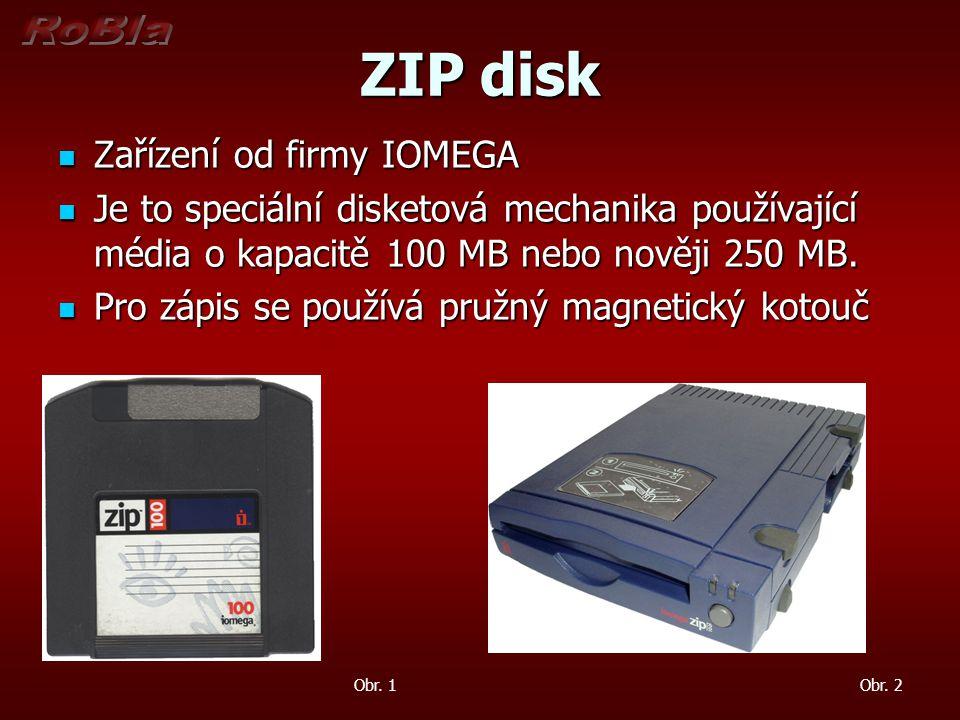 ZIP disk Zařízení od firmy IOMEGA Zařízení od firmy IOMEGA Je to speciální disketová mechanika používající média o kapacitě 100 MB nebo nověji 250 MB.
