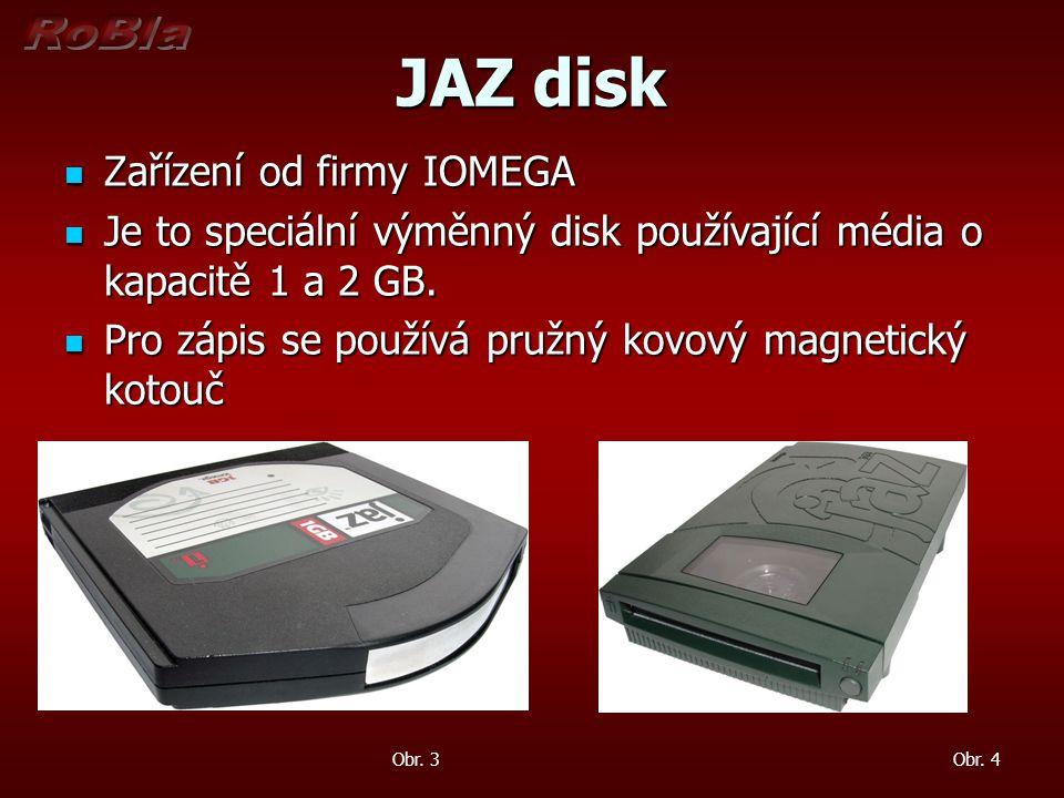 Mini Disc Zařízení od firmy Sony Zařízení od firmy Sony Je to speciální výměnný disk používající média o kapacitě do 1 GB Je to speciální výměnný disk používající média o kapacitě do 1 GB Pro zápis se používá magnetooptický disk Pro zápis se používá magnetooptický disk Obr.