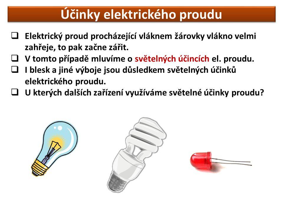  Elektrický proud procházející vláknem žárovky vlákno velmi zahřeje, to pak začne zářit.