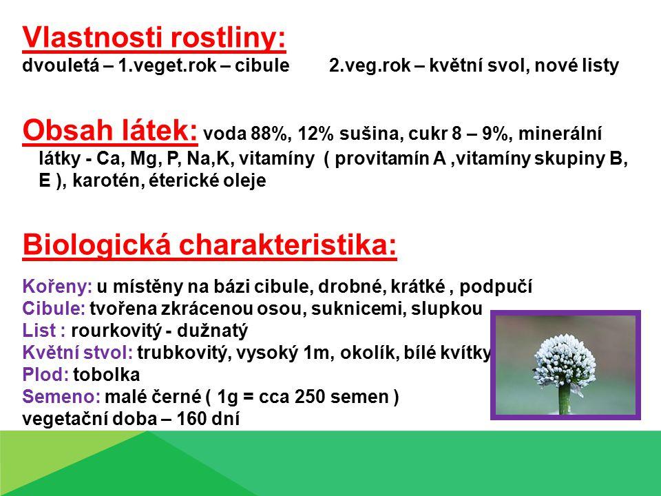 Vlastnosti rostliny: dvouletá – 1.veget.rok – cibule 2.veg.rok – květní svol, nové listy Obsah látek: voda 88%, 12% sušina, cukr 8 – 9%, minerální látky - Ca, Mg, P, Na,K, vitamíny ( provitamín A,vitamíny skupiny B, E ), karotén, éterické oleje Biologická charakteristika: Kořeny: u místěny na bázi cibule, drobné, krátké, podpučí Cibule: tvořena zkrácenou osou, suknicemi, slupkou List : rourkovitý - dužnatý Květní stvol: trubkovitý, vysoký 1m, okolík, bílé kvítky Plod: tobolka Semeno: malé černé ( 1g = cca 250 semen ) vegetační doba – 160 dní