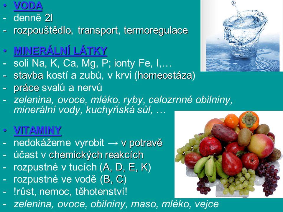 VODAVODA 2l -denně 2l -rozpouštědlotransporttermoregulace -rozpouštědlo, transport, termoregulace MINERÁLNÍ LÁTKYMINERÁLNÍ LÁTKY -soli Na, K, Ca, Mg, P; ionty Fe, I,… -stavbahomeostáza -stavba kostí a zubů, v krvi (homeostáza) -práce -práce svalů a nervů -zelenina, ovoce, mléko, ryby, celozrnné obilniny, minerální vody, kuchyňská sůl, … VITAMINYVITAMINY v potravě -nedokážeme vyrobit → v potravě chemických reakcích -účast v chemických reakcích A, D, E, K -rozpustné v tucích (A, D, E, K) B, C -rozpustné ve vodě (B, C) -!růst, nemoc, těhotenství.