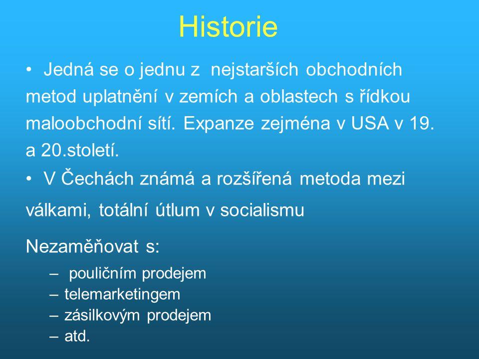 Historie Jedná se o jednu z nejstarších obchodních metod uplatnění v zemích a oblastech s řídkou maloobchodní sítí.