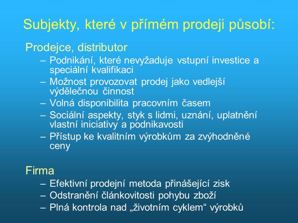 """Subjekty, které v přímém prodeji působí: Prodejce, distributor –Podnikání, které nevyžaduje vstupní investice a speciální kvalifikaci –Možnost provozovat prodej jako vedlejší výdělečnou činnost –Volná disponibilita pracovním časem –Sociální aspekty, styk s lidmi, uznání, uplatnění vlastní iniciativy a podnikavosti –Přístup ke kvalitním výrobkům za zvýhodněné ceny Firma –Efektivní prodejní metoda přinášející zisk –Odstranění článkovitosti pohybu zboží –Plná kontrola nad """"životním cyklem výrobků"""