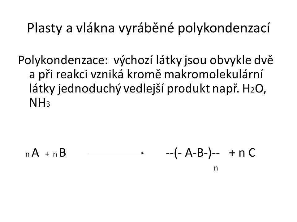 Plasty a vlákna vyráběné polykondenzací Polykondenzace: výchozí látky jsou obvykle dvě a při reakci vzniká kromě makromolekulární látky jednoduchý vedlejší produkt např.