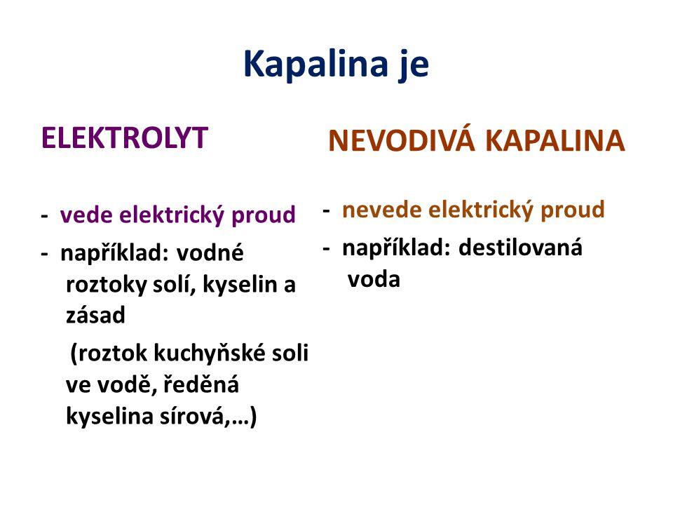 Kapalina je ELEKTROLYT - vede elektrický proud - například: vodné roztoky solí, kyselin a zásad (roztok kuchyňské soli ve vodě, ředěná kyselina sírová,…) NEVODIVÁ KAPALINA - nevede elektrický proud - například: destilovaná voda