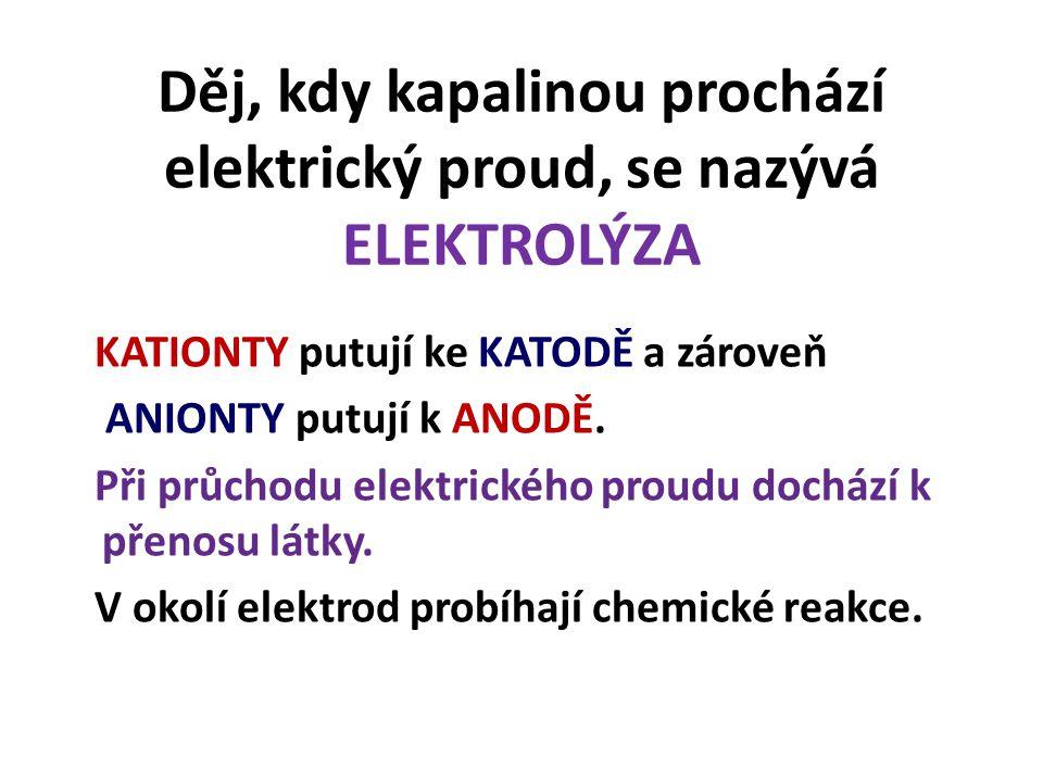 Děj, kdy kapalinou prochází elektrický proud, se nazývá ELEKTROLÝZA KATIONTY putují ke KATODĚ a zároveň ANIONTY putují k ANODĚ.