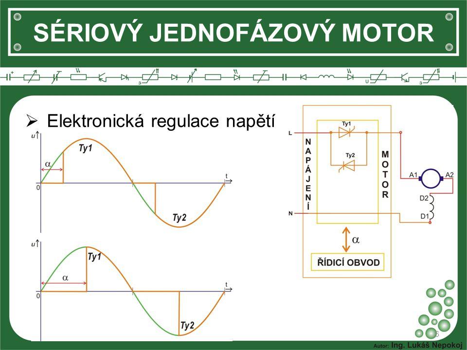 SÉRIOVÝ JEDNOFÁZOVÝ MOTOR  Jiskřením kontaktů komutátoru vznikají vysokofrekvenční proudy, které deformují průběh napětí v síti a mohou být zdroji rušení elektronických zařízení.