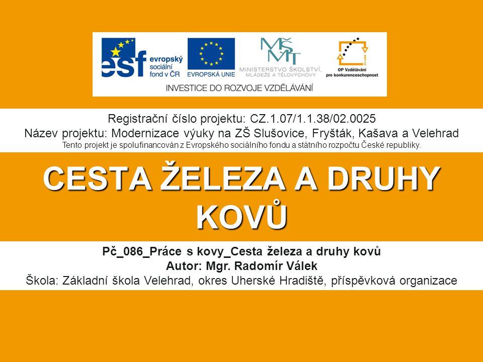 CESTA ŽELEZA A DRUHY KOVŮ Pč_086_Práce s kovy_Cesta železa a druhy kovů Autor: Mgr.
