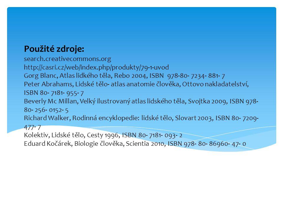 Použité zdroje: search.creativecommons.org http://casri.cz/web/index.php/produkty/79-1-uvod Gorg Blanc, Atlas lidkého těla, Rebo 2004, ISBN 978-80- 72