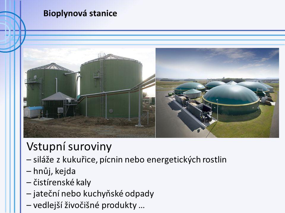 Bioplynová stanice Vstupní suroviny – siláže z kukuřice, pícnin nebo energetických rostlin – hnůj, kejda – čistírenské kaly – jateční nebo kuchyňské odpady – vedlejší živočišné produkty …