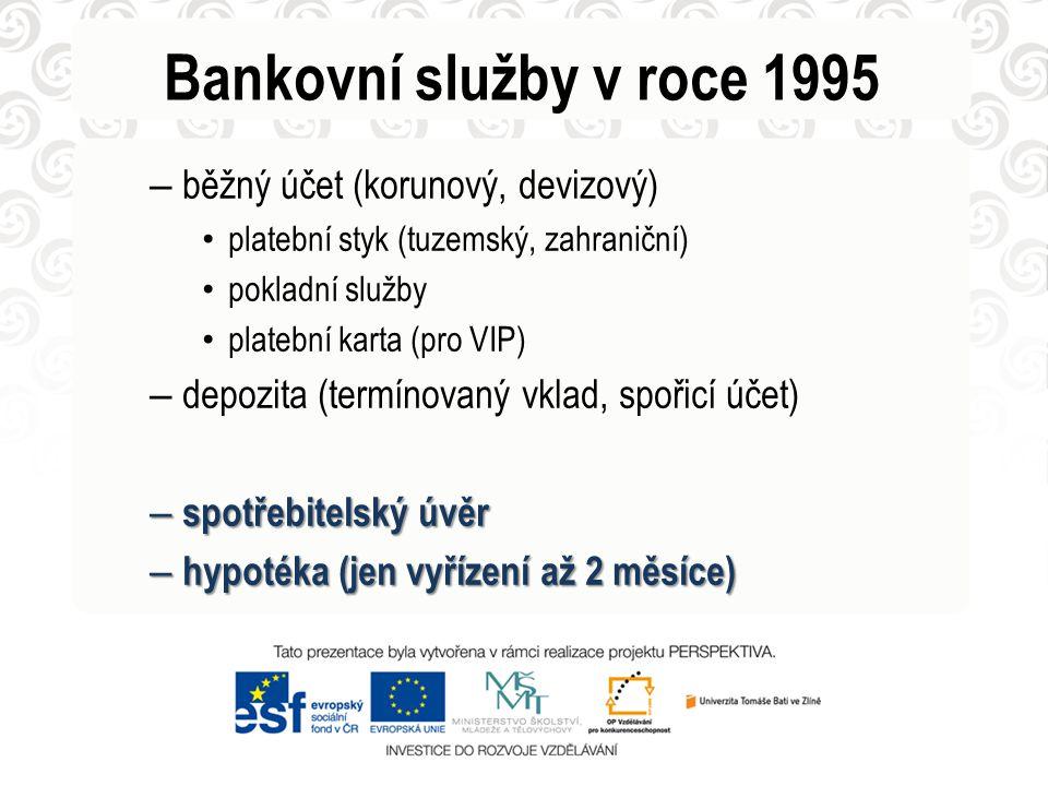 Bankovní služby v roce 1995 – běžný účet (korunový, devizový) platební styk (tuzemský, zahraniční) pokladní služby platební karta (pro VIP) – depozita