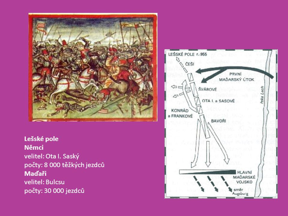 Lešské pole Němci velitel: Ota I. Saský počty: 8 000 těžkých jezdců Maďaři velitel: Bulcsu počty: 30 000 jezdců