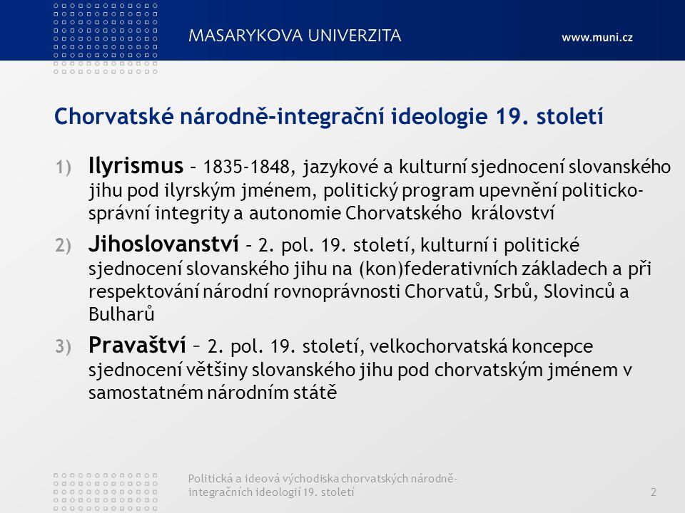Politická a ideová východiska chorvatských národně- integračních ideologií 19. století2 Chorvatské národně-integrační ideologie 19. století 1) Ilyrism