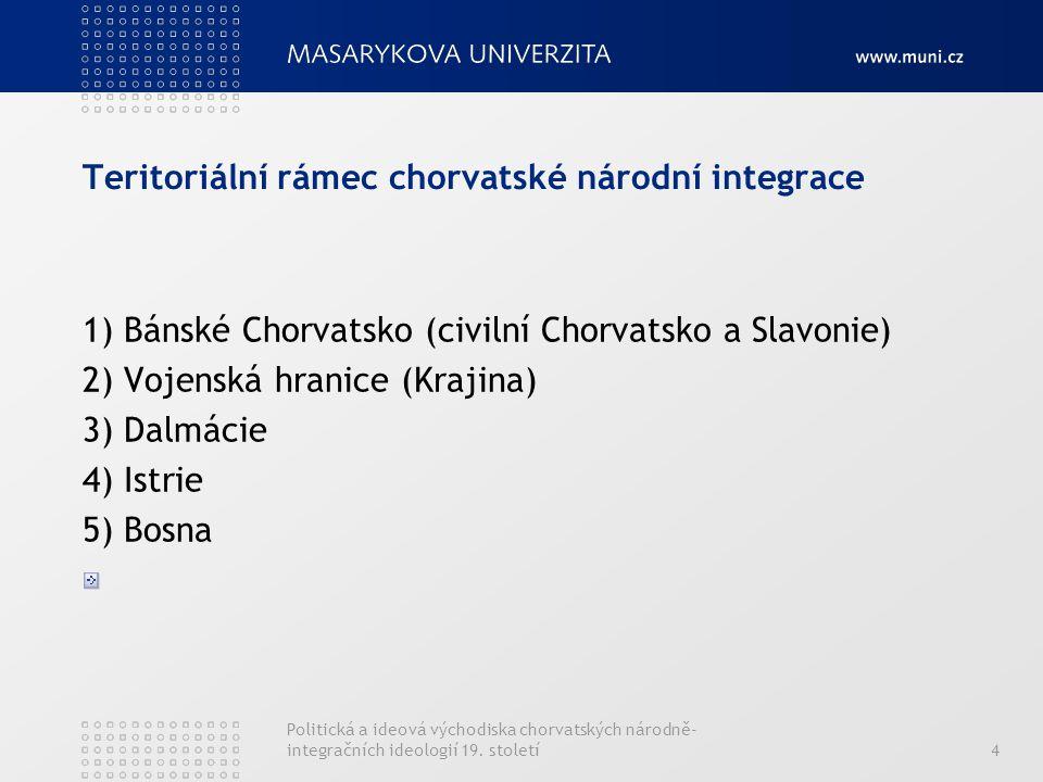 Politická a ideová východiska chorvatských národně- integračních ideologií 19. století4 Teritoriální rámec chorvatské národní integrace 1) Bánské Chor