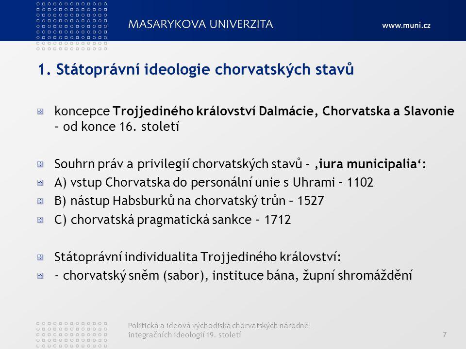 7 1. Státoprávní ideologie chorvatských stavů koncepce Trojjediného království Dalmácie, Chorvatska a Slavonie – od konce 16. století Souhrn práv a pr