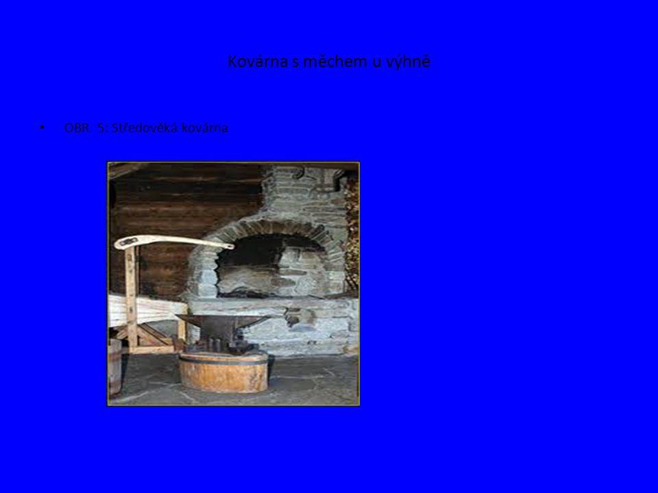 Kovárna s měchem u výhně OBR. 5: Středověká kovárna
