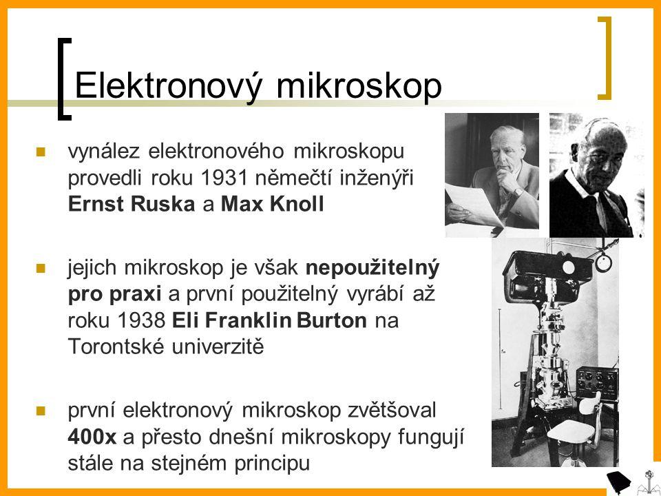 Elektronový mikroskop vynález elektronového mikroskopu provedli roku 1931 němečtí inženýři Ernst Ruska a Max Knoll jejich mikroskop je však nepoužitelný pro praxi a první použitelný vyrábí až roku 1938 Eli Franklin Burton na Torontské univerzitě první elektronový mikroskop zvětšoval 400x a přesto dnešní mikroskopy fungují stále na stejném principu
